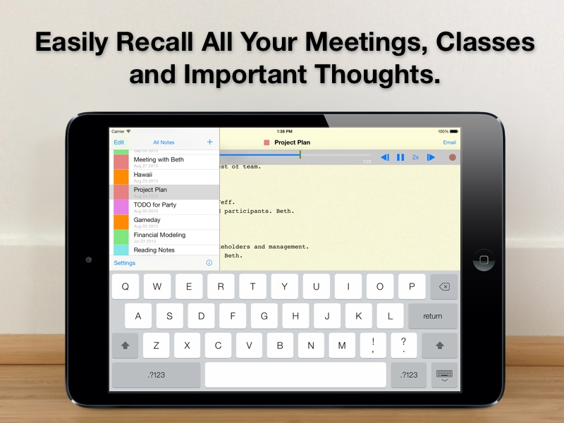 Audio Notebook: Sound Recorder and Notebook for your iPad