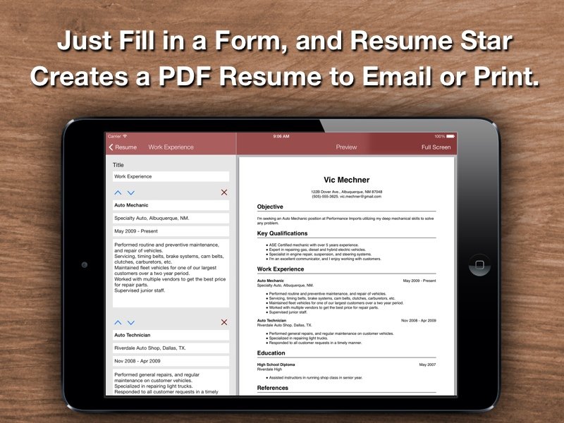 resume top resume designer for the iphone
